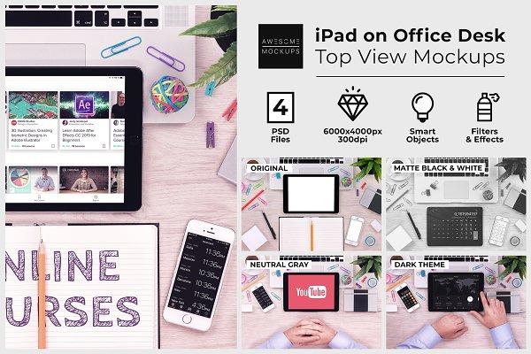 iPad on Office Desk Top View Mockup