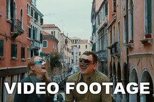 Couple in Venetian Masks Throwing
