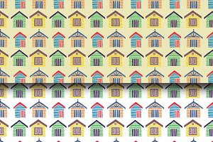 Colorful Beach House Seamless Patten