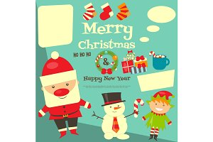 Card with Christmas characters