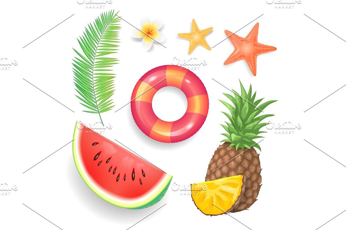 Summer Seasonal Icons Set Vector