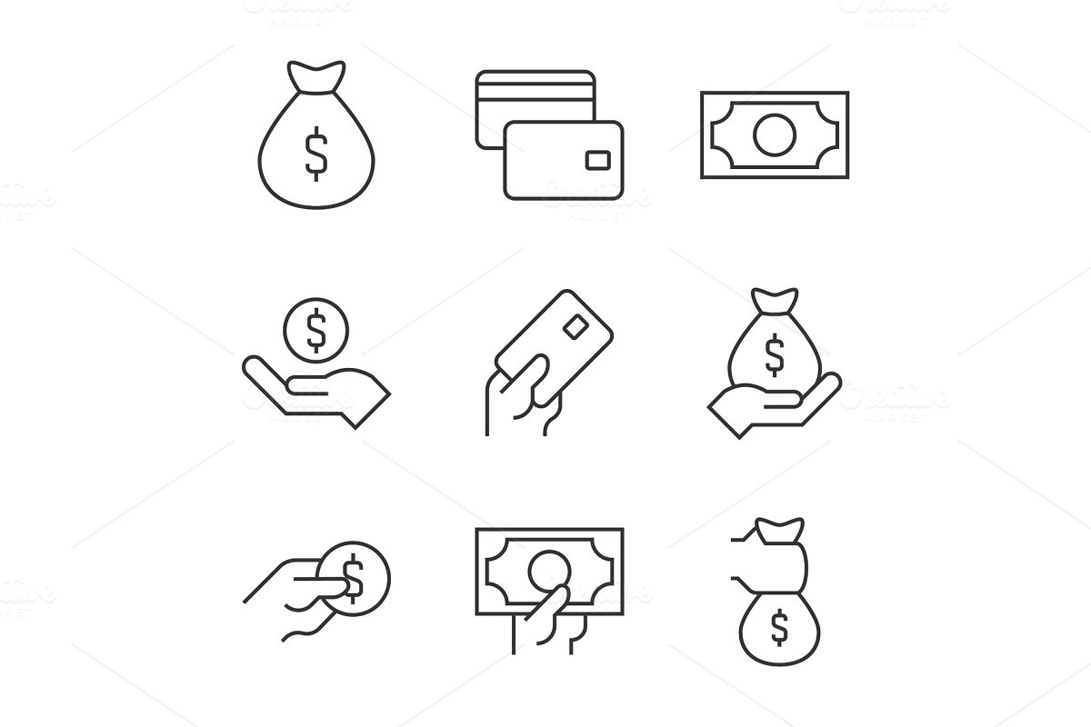 Money outline icons on white