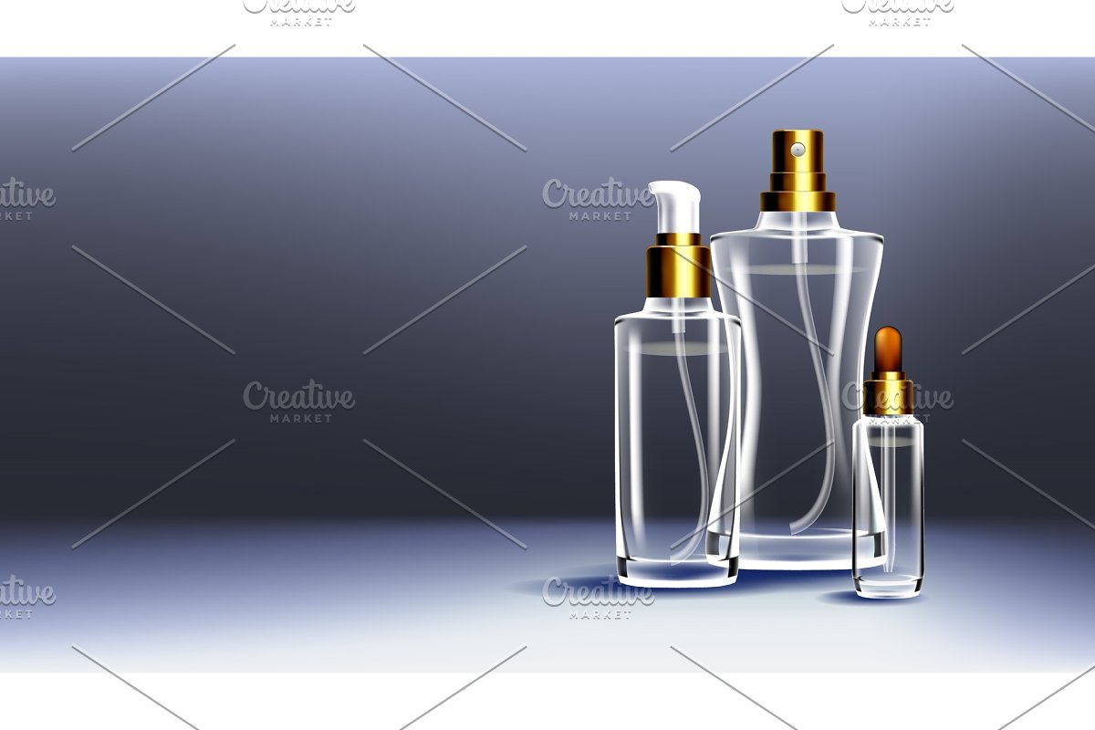 Cosmetic Glass Ads Vector. Medical