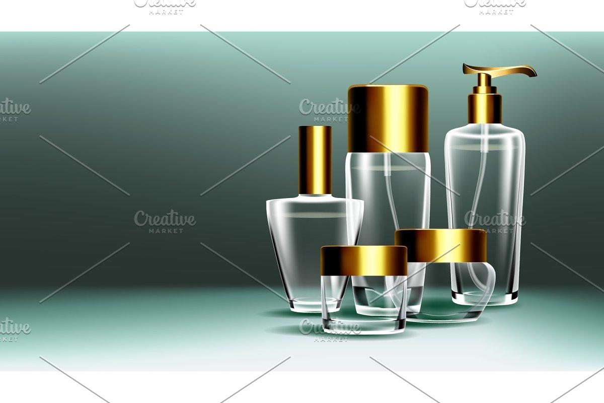 Cosmetic Glass Banner Vector. Bottle