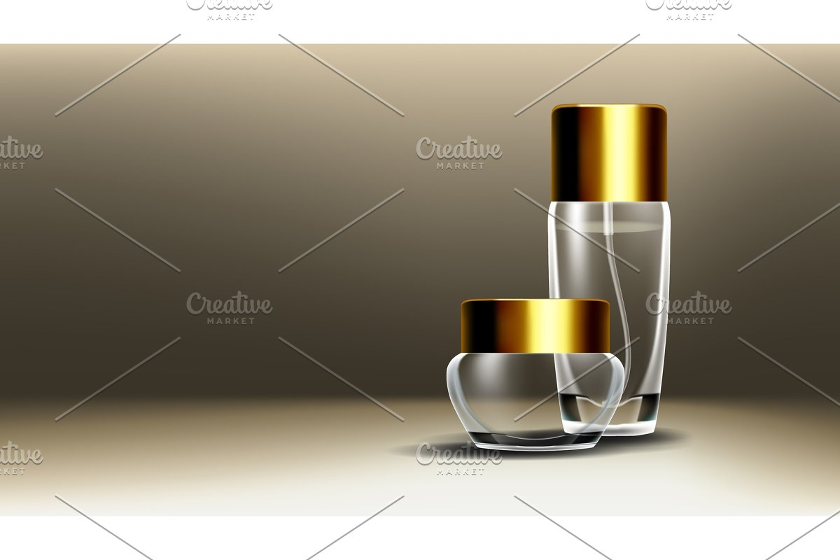 Cosmetic Glass Design Vector. Face