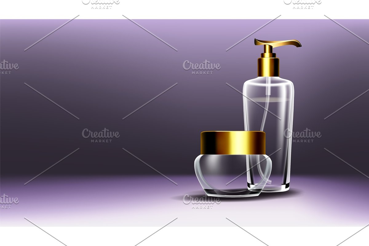 Cosmetic Glass Poster Vector. Bottle