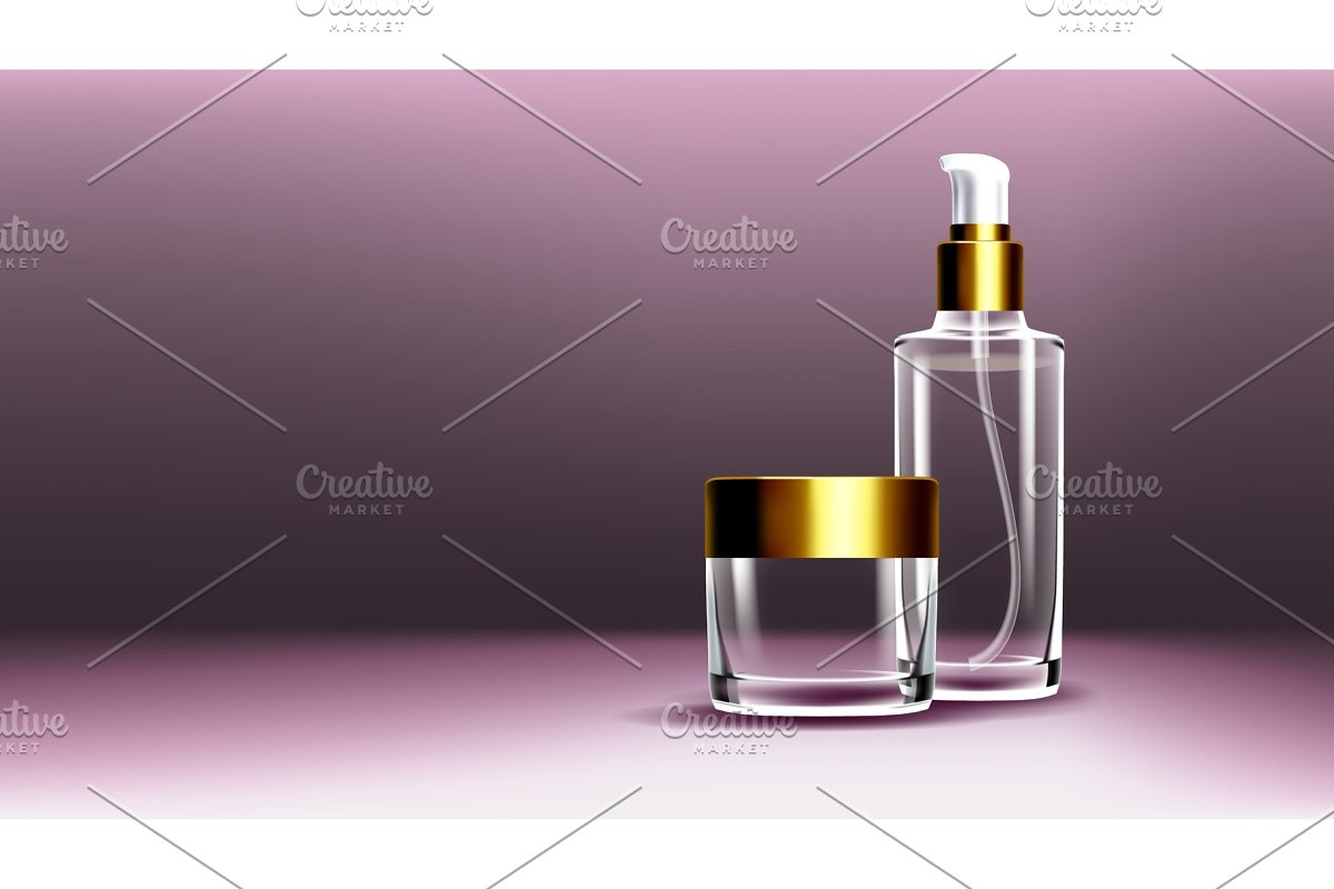 Cosmetic Glass Ads Vector. Bottle