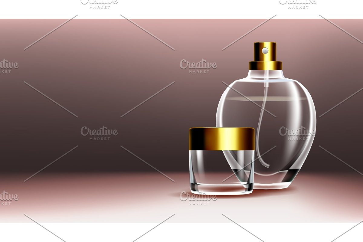 Cosmetic Glass Banner Vector