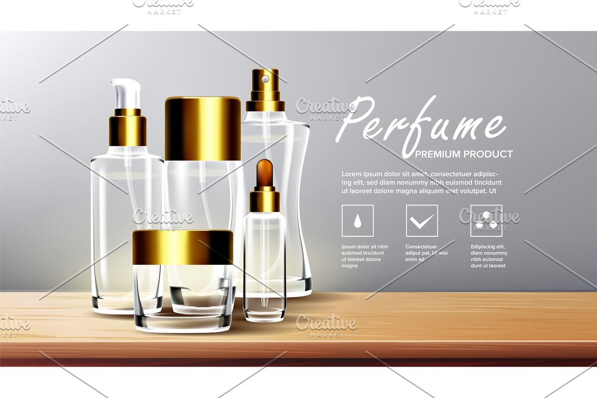 Cosmetic Glass Packaging Vector. Spa
