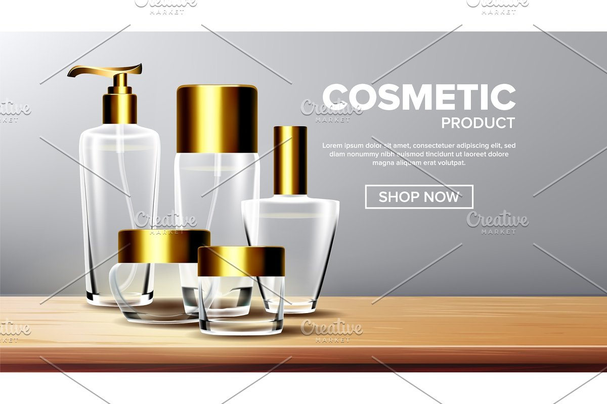 Cosmetic Glass Product Vector