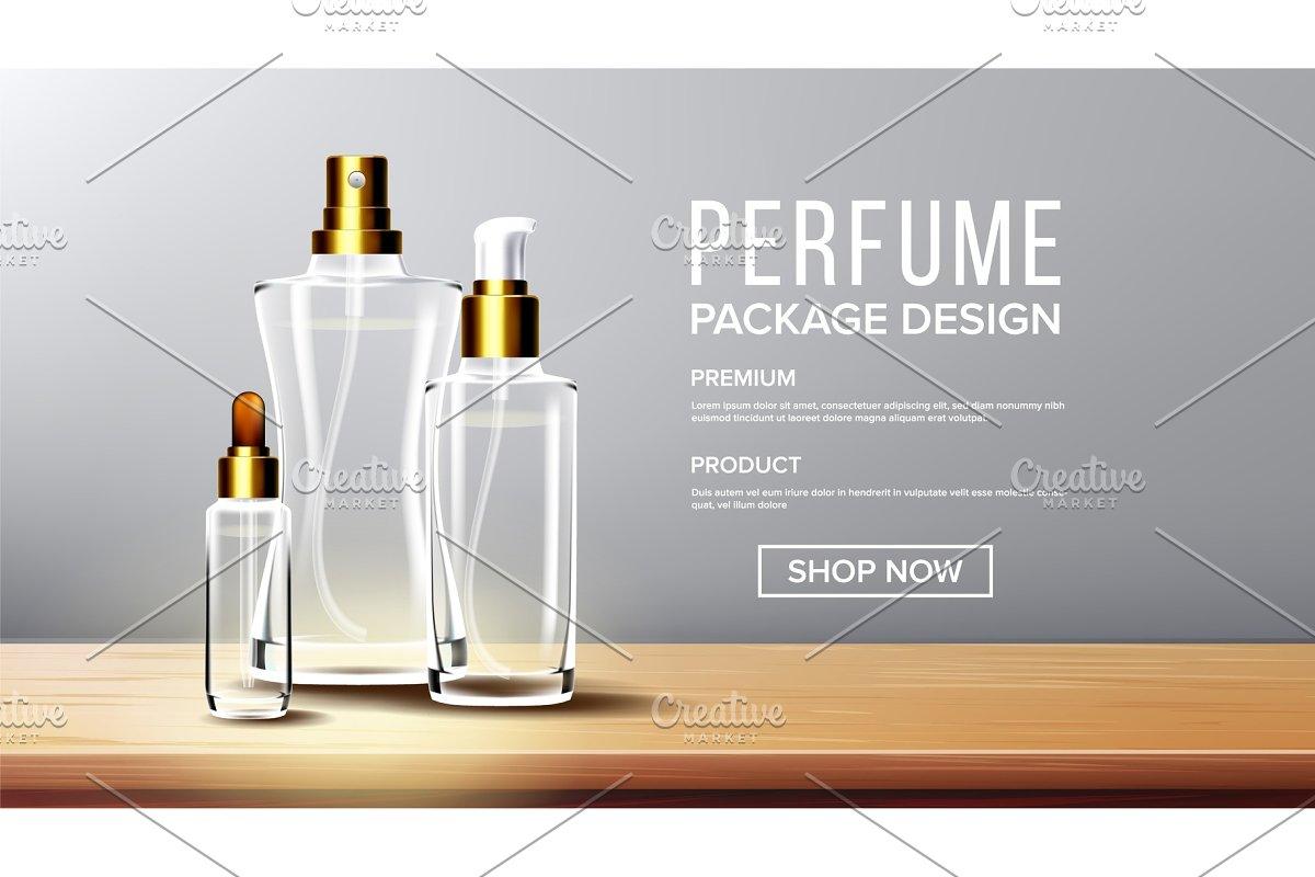 Cosmetic Glass Design Vector. Bottle
