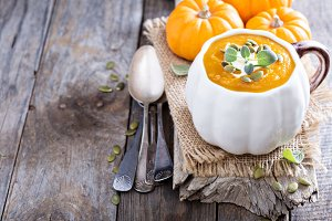 Pumpkin soup with cream and cream