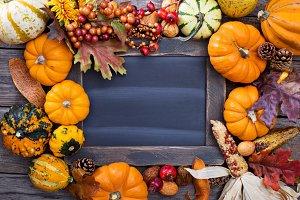 Pumpkin chalkboard frame