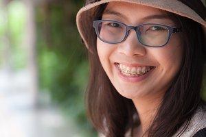 close up face asia woman.