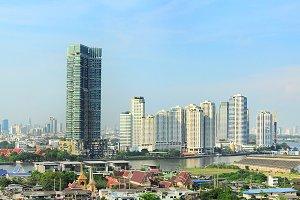 Bangkok view with Chao Phraya river