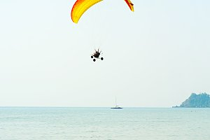 Paraglider at the tropical beach