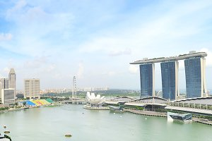 Panoramicl view of Singapore bay