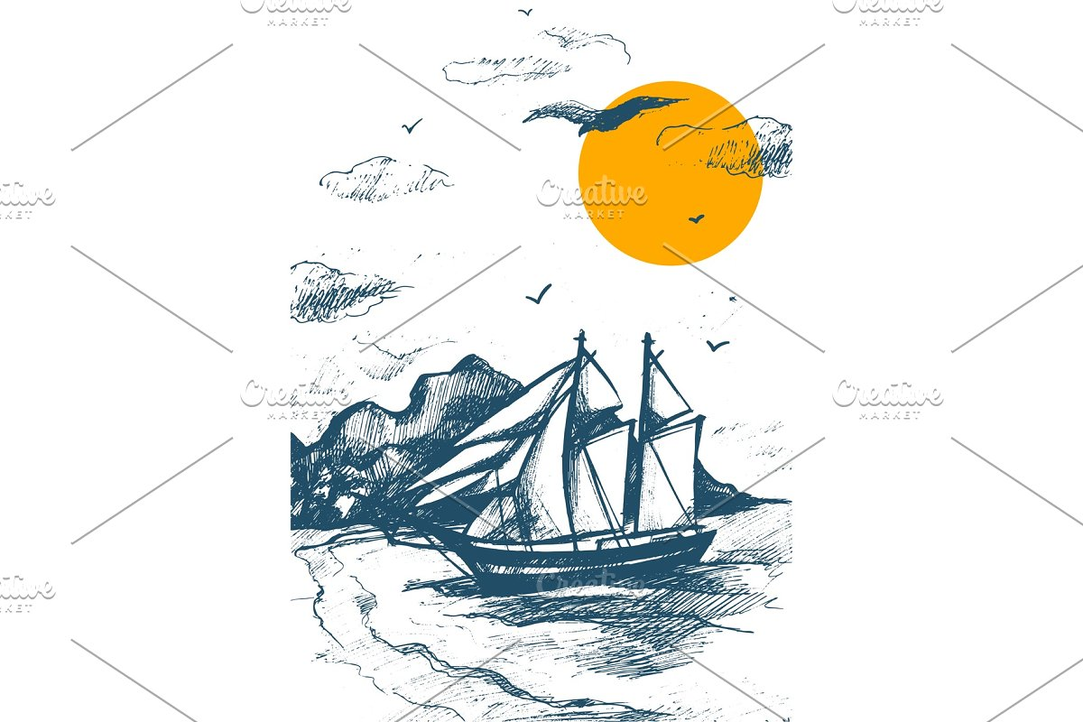 Sailing yacht silhouette sketch