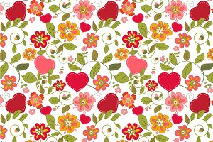 "Seamless pattern ""Flowers&hearts"""