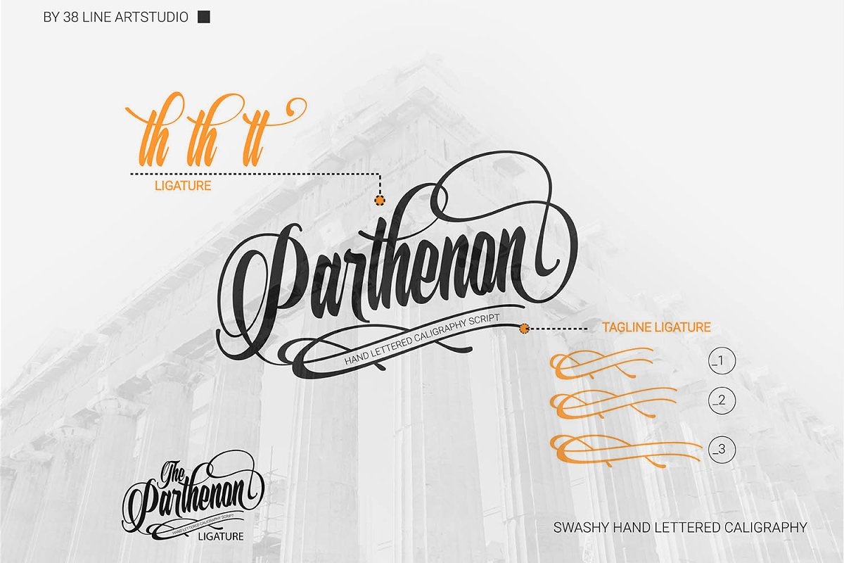 The Parthenon in Script Fonts - product preview 3