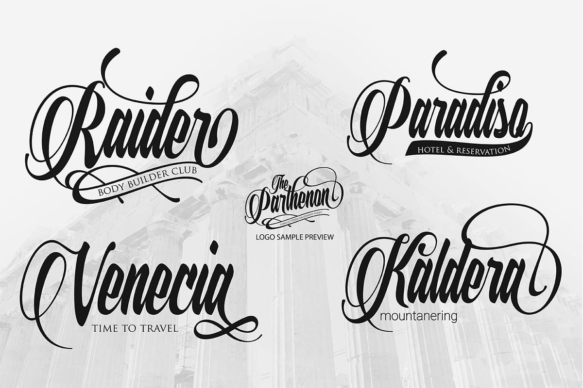 The Parthenon in Script Fonts - product preview 6
