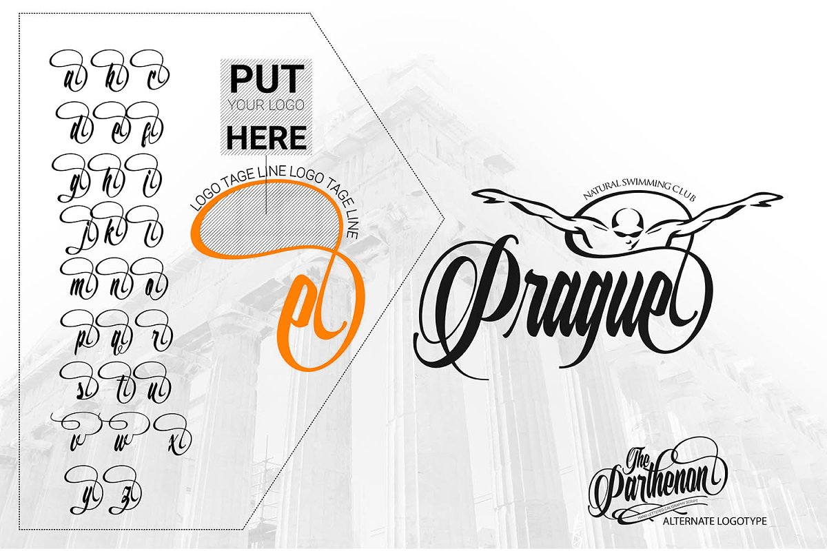 The Parthenon in Script Fonts - product preview 4