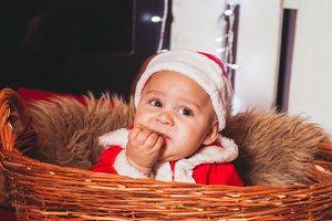 Baby in Santa costume