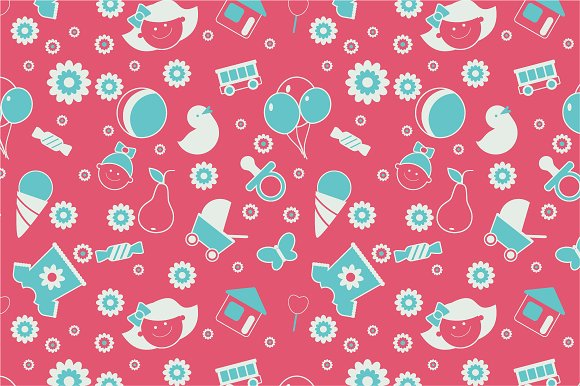 Seamless Baby Pattern Graphic Patterns Creative Market Custom Baby Patterns