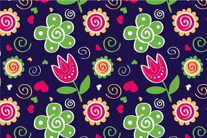 "Pattern ""Tulips&green flowers"""