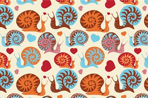 "Seamless pattern ""Funny snails"""