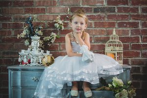 Young girl in wedding dress