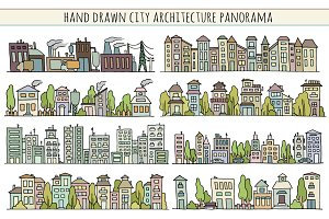 Sketch city architecture with houses