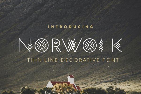 Norwolk - Thin Line Decorative Font