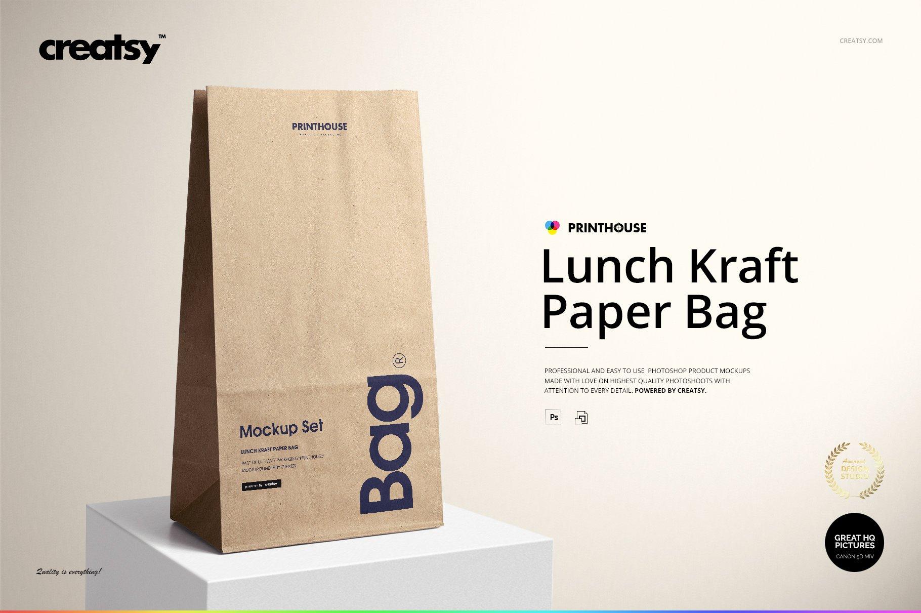 lunch kraft paper bag mockup set  creative photoshop