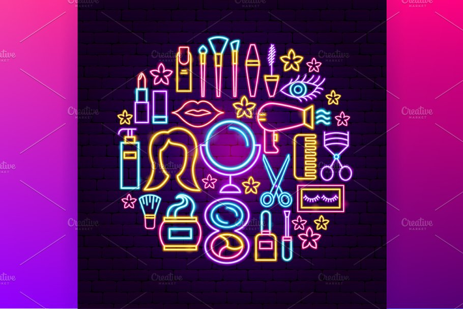 Beauty Cosmetics Neon in Neon Icons - product preview 3