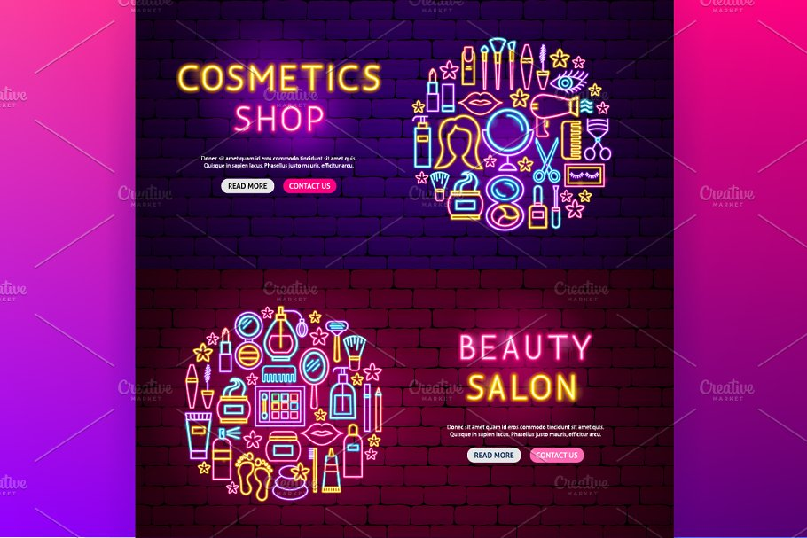 Beauty Cosmetics Neon in Neon Icons - product preview 5