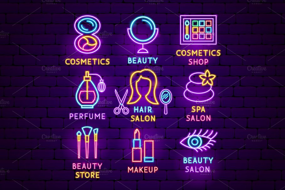 Beauty Cosmetics Neon in Neon Icons - product preview 6