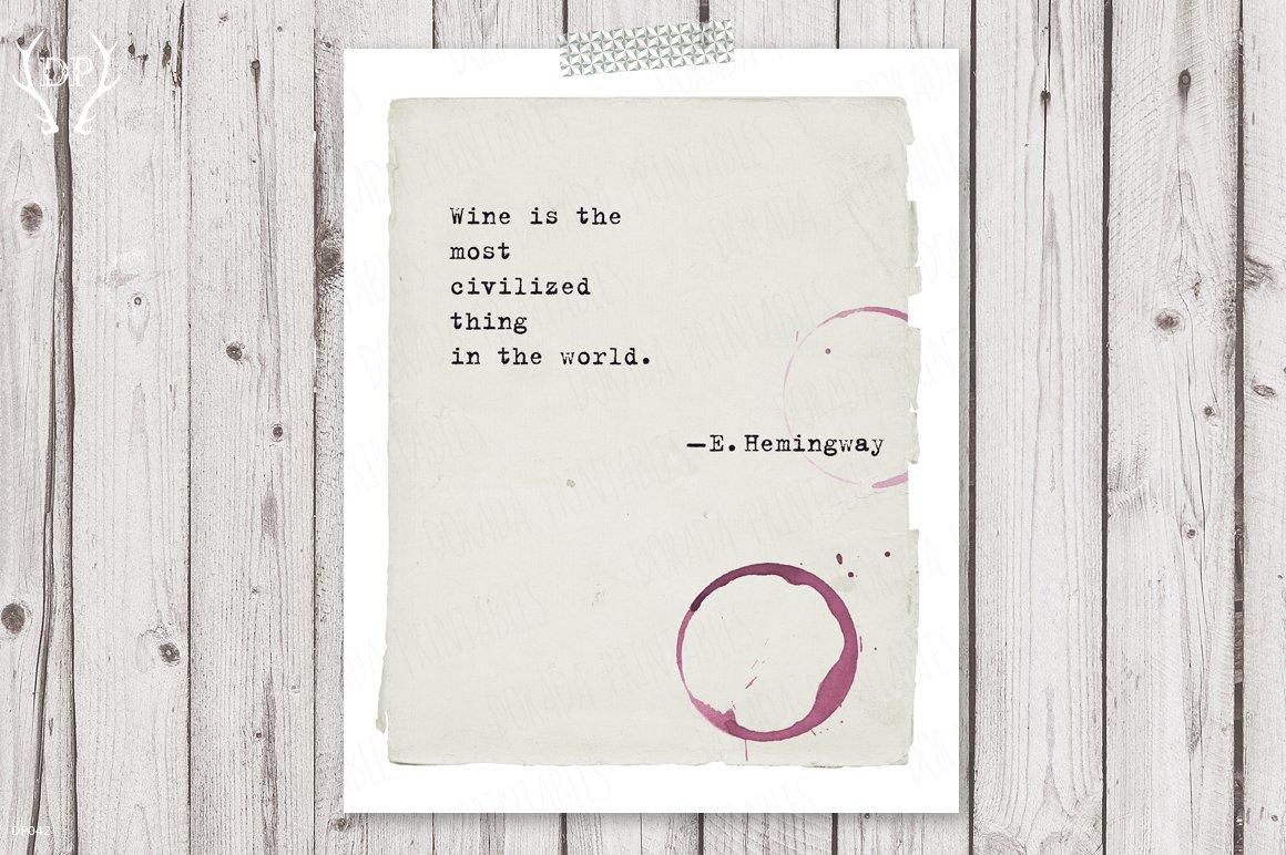 Typewriter Quote Hemingway Print Art Illustrations Creative Market