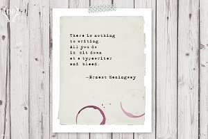 Typewriter quote Hemingway art print
