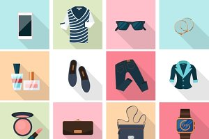 Women clothes and accessories icons