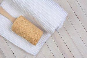 Loofah on Towel