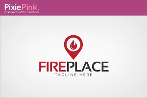 Fire Place Logo Template
