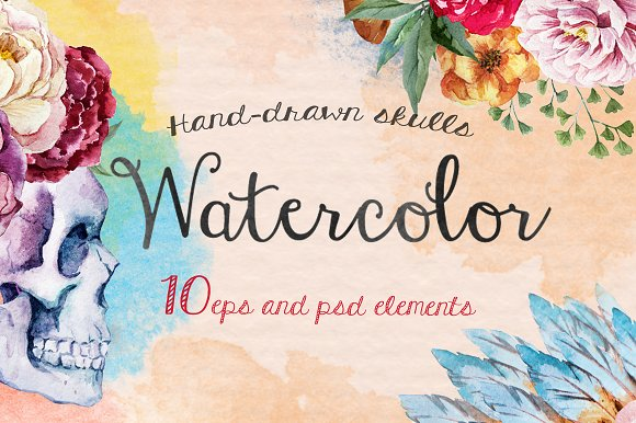 10 watercolor skulls collection