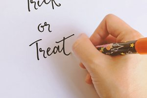 Hand written trick or treat