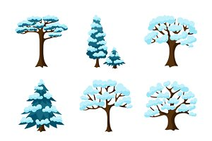 Set of winter stylized trees.