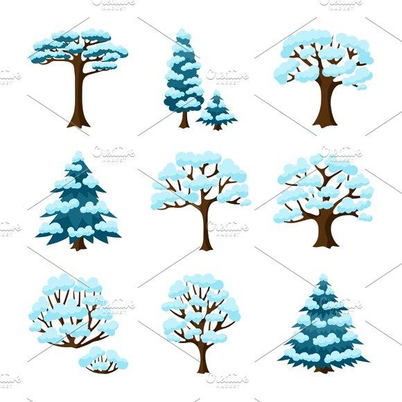 Set of winter stylized trees.