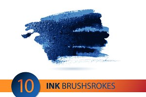 Vector ink  brushstroke set