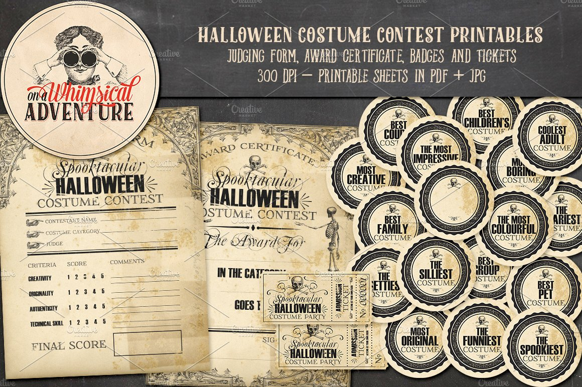 Halloween Costume Contest Printables Illustrations