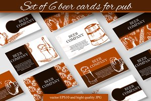 Set of 6 beer cards for pub