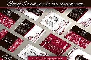 Set of 6 wine cards for restaurant